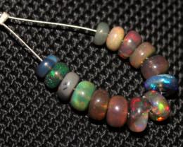 5.50 Crts Natural Ethiopian Welo Smoked Opal Beads Demi Strand 67