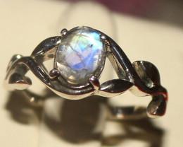 Natural  Rainbow Moonstone 925 Silver Ring Size US (7) 115
