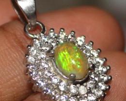 Natural Ethiopian Welo Fire Opal 925 Silver Pendant 337