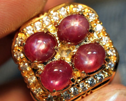 63.11crt REDISH PINK STAR RUBY MADAGASKAR CUSTOM RING
