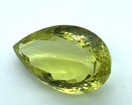 28.78 ct 100 % Natural Certified Lemon Quartz Loose Gemstone Cut Pear