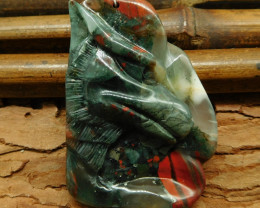 Natural gemstone african bloodstone carved wolf pendant bead (G0311)