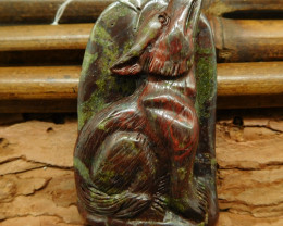 Wholesale dragon bloodstone carving wolf pendant jewelry (G0313)