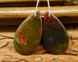 Picasso jasper pear shape earring paris (G0316)