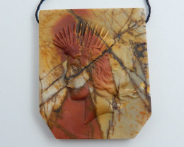 152.5cts Hand Carved Indian Pendant Bead ,Multi Color Jasper Pendant C707
