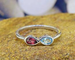 N/R Natural Topaz & Garnet 925 Sterling Silver Ring (SSR0516)