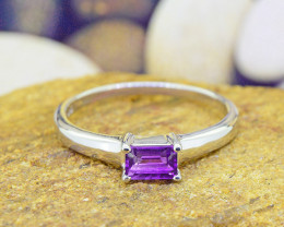 N/R Natural Amethyst 925 Sterling Silver Ring Size 10 (SSR0519)
