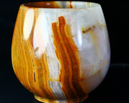 1141 CT Natural Onyx Carved Vine Glass Special Shape