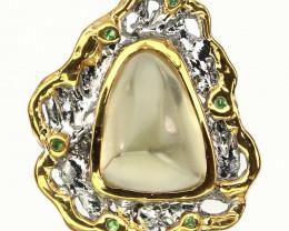 Citrine Tsavorite Handmade 14kt Gold over Sterling Silver Ring