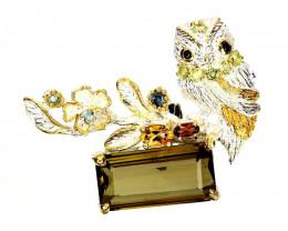 ⭐Multi gem Owl Pendant - Artisan Handmade work