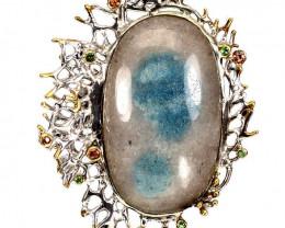 ⭐Huge Rare Trolleite Quartz Cabochon pendant - .925 Sterling Silver