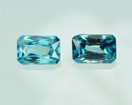 5.91 Cts Stunning Lustrous Cambodian Blue Zircon Pair