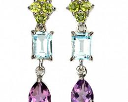 Glamorous Peridot Topaz Amethyst Earrings - Brand new - No Reserve