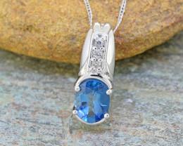 Natural Blue Topaz 925 Sterling Silver Pendant (SSP0541 )