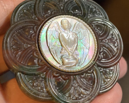 Mother of Pearl Angel Carved Cameo Shell in Moss Agate 175.00cts