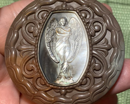 Mother of Pearl Angel Carved Cameo Shell in Jasper 295.00cts