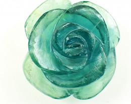 Genuine 375.00 Cts Green Fluorite Carved Rose