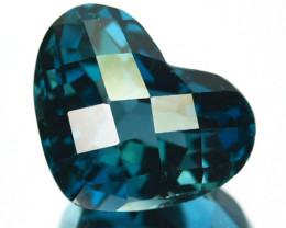 9.90 Cts Natural London Blue Topaz Heart Checkerboard Cut Brazil