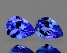 6x4 mm Pear 2 pcs 1.01cts Purple Blue Tanzanite [VVS]