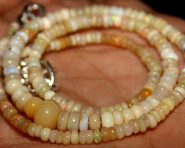 40 Crt Natural Ethiopian Welo Fire Opal Beads Necklace 46