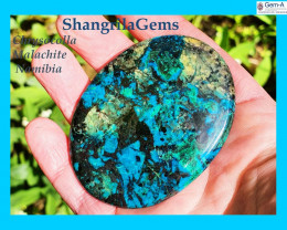 66mm 225ct Chrysocolla Malachite Hematite Namibia cabochon oval