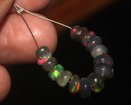 4.80 Crts Natural Ethiopian Welo Smoked Opal Beads Demi Strand 76