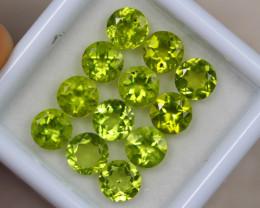 6.61ct Green Peridot Round Cut Lot GW3857