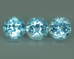 5.30 CTS AWESOME NICE QULITY ROUND 7.10MM { 3 PCS } SKY BLUE~NATURAL TOPAZ