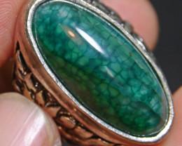 92.00 CT Beautiful GREEN GOBLIN Dragon Skin Agate Ring Jewelry