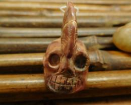 Multi picasso jasper carving skull pendant jewelry (G0328)