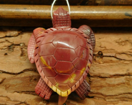 Natural gemstone mookiate jasper pendant carving sea turtle bead (G0329)