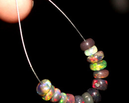 3.95 Crts Natural Ethiopian Welo Smoked Opal Beads Demi Strand 80