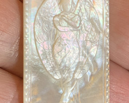 Mother of Pearl Angel Carved Cameo Shell with Rainbows Cabochon 20ct