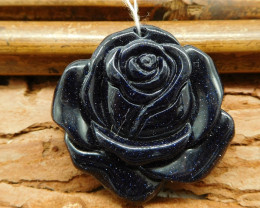 Carving blue sun stone rose flower pendant bead (G0351)