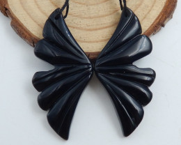 New design natural gemstone Obsidian carved Wing shaped earrings beads C747