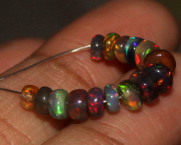 3.65 Crts Natural Ethiopian Welo Smoked Opal Beads Demi Strand 83