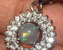 Natural Ethiopian Welo Fire Opal 925 Silver Pendant 352
