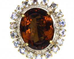 ⭐Large Glittering Tanzanite Cognac Citrine  Sterling Silver ring NR