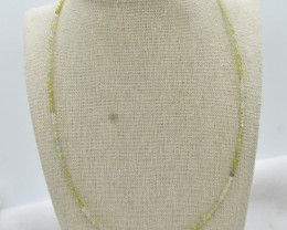 Peridot Beads Necklace Natural Gemstone 925 Sterling Silver Clasp NK4