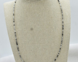 Rutile Beads Necklace Natural Gemstone 925 Sterling Silver Clasp NK11