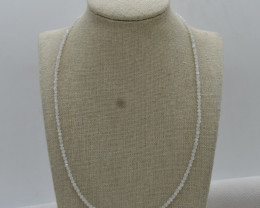 Rainbow Moonstone Beads Necklace Natural Gemstone 925 Sterling Silver Clasp