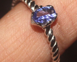 Natural Tanzanite 925 Sterling Silver Ring Size (9) 119