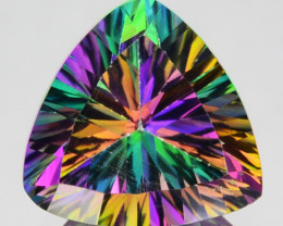 ~FLASHING~ Natural Rainbow Mystic Topaz 8 mm Trillion Brazil 1.90 Cts