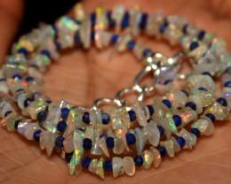 29 Crt Natural Ethiopian Welo Opal Uncut & Lapis Lazuli Necklace 35