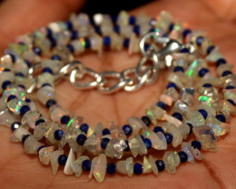 26 Crt Natural Ethiopian Welo Opal Uncut & Lapis Lazuli Necklace 33