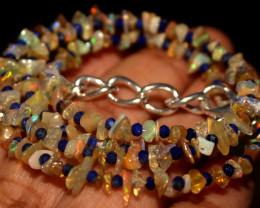 27 Crt Natural Ethiopian Welo Opal Uncut & Lapis Lazuli Necklace 30