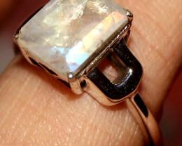 Natural Labradorite 925 Sterling Silver Ring Size (9) 130