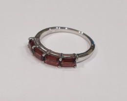 Stacking band Garnet 925 Sterling silver ring #472