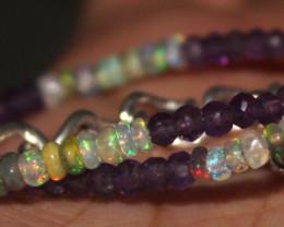 14 Crt Natural Ethiopian Welo Opal & Amethyst Beads Bracelet 326