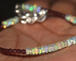 13 Crt Natural Ethiopian Welo Fire Opal & Garnet Beads Bracelet 330